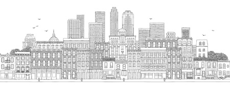 Horizontal banner with hand drawn buildings of a big city, skyline with skyscrapers, real estate background