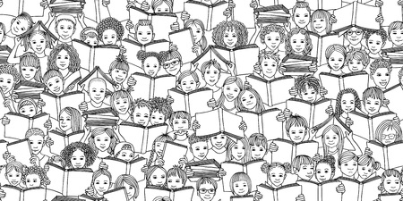 Seamless black and white banner of children reading books, back-to-school vector background with diverse school kids