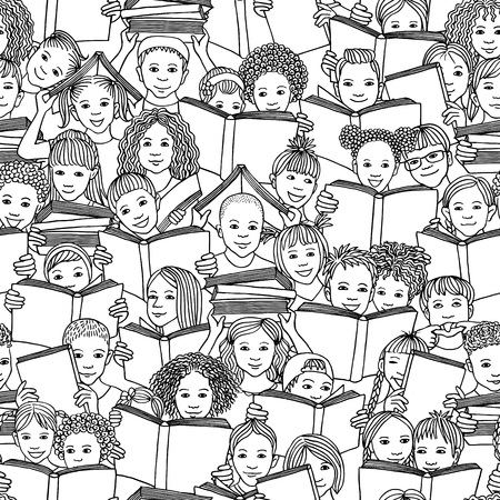 Seamless black and white pattern of children reading books, back-to-school vector background with diverse school kids