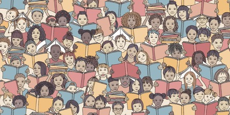 Seamless banner of children reading colorful books, back-to-school vector background with diverse school kids