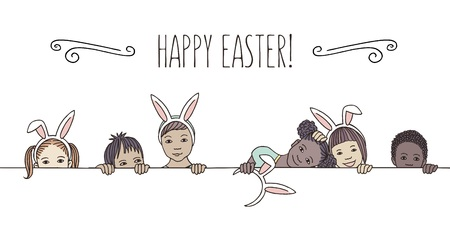 Hand drawn illustration for Easter - diverse children with bunny ears, peeking behind a horizontal line 向量圖像
