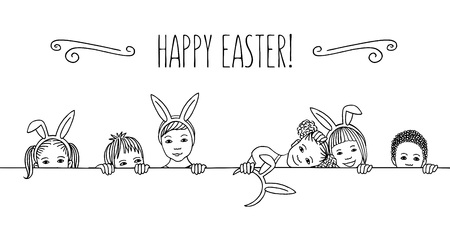Hand drawn illustration for Easter - diverse children with bunny ears, peeking behind a horizontal line Çizim