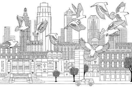 Birds over Kansas City - hand drawn black and white illustration of the city with a flock of pigeons