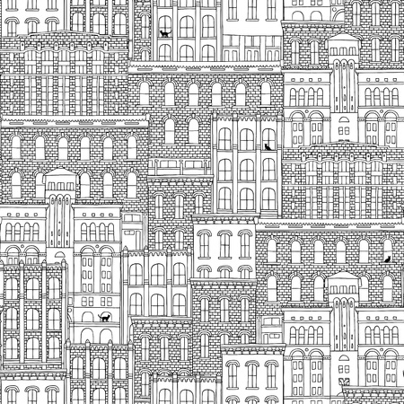 Hand drawn seamless pattern of American brick houses with cats in the windows