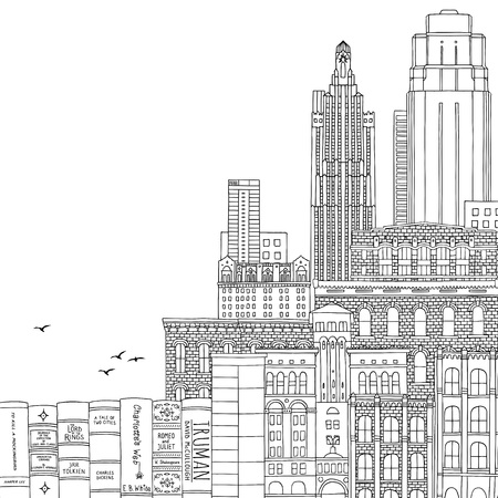 Hand drawn black and white illustration of Kansas City, Missouri USA, with empty space for text Ilustração