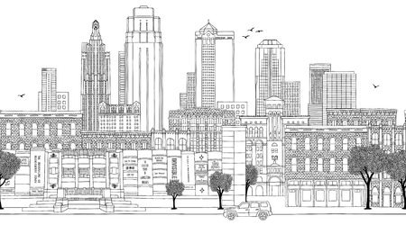 Kansas City, Missouri, USA - Seamless banner of the city's skyline, hand drawn black and white illustration Ilustração