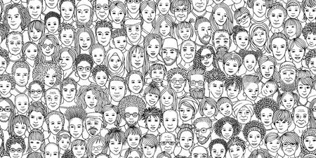 Multitud diversa de personas: niños, adolescentes, adultos y personas mayores: pancarta perfecta de rostros dibujados a mano de varios grupos de edad y etnias Ilustración de vector
