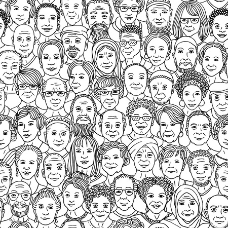Diverse group of older people 50+ - seamless pattern with hand drawn faces, senior citizens of various ethnicities