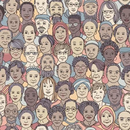Zróżnicowana grupa osób starszych 50+ - wzór z ręcznie rysowanymi twarzami, seniorzy różnych narodowości