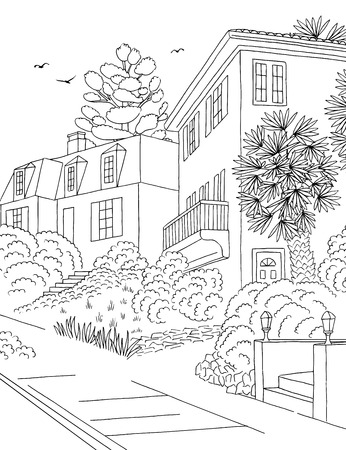 Hand drawn black and white illustration of a middle class suburban neighbourhood with houses, yard, pavement and trees Reklamní fotografie - 121632477