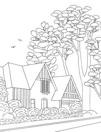 Illustration noire et blanche dessinée à la main d'un quartier de banlieue de classe moyenne avec des maisons, une cour, un trottoir et des arbres