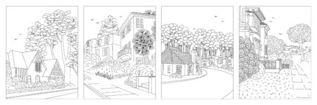 Satz von vier handgezeichneten Illustrationen von Vorstadtvierteln der Mittelklasse mit Häusern, Hof, Bürgersteig und Bäumen