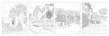 Set van vier handgetekende illustraties van voorstedelijke buurten van de middenklasse met huizen, tuin, bestrating en bomen