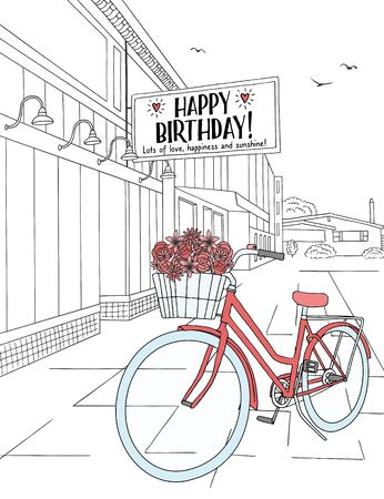 Hand drawn birthday card - ink sketch of houses and a red bicycle with birthday flowers, plus a sign saying Happy Birthday!