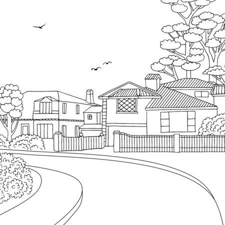Illustrazione in bianco e nero disegnata a mano di un quartiere suburbano della classe media con case, cortile, marciapiede e alberi Vettoriali