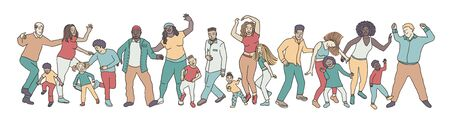Hand drawn group of diverse people, children and adults, dancing happily together Illusztráció