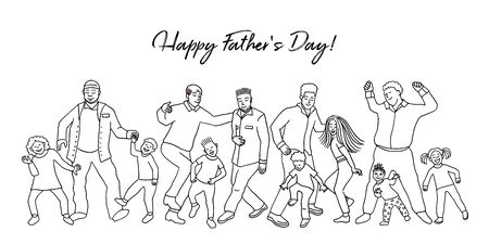 Happy Fathers Day! Hand drawn group of fathers and their children, dancing happily together for fathers day