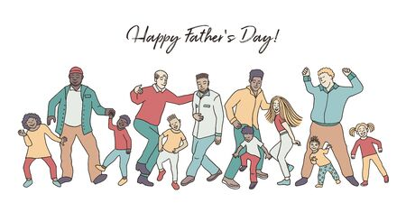 Happy Father's Day! Hand drawn group of fathers and their children, dancing happily together for father's day Illusztráció