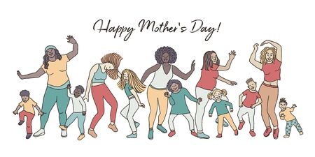Happy Mothers Day! Hand drawn group of mothers and their children, dancing happily together for mothers day
