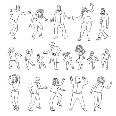 Isolated dancing people, children and adults Foto de archivo - 128803723