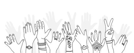 Hands raised up - hand drawn, diverse hands raised in the air Foto de archivo - 128803724