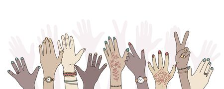 Hands raised up - hand drawn, diverse hands raised in the air Foto de archivo - 128803742