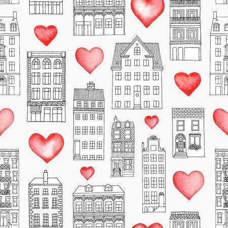 Home is where the heart is - seamless pattern with hand drawn houses and watercolor hearts Illustration