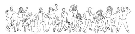 Hand drawn group of diverse people, children and adults, dancing happily together Ilustrace