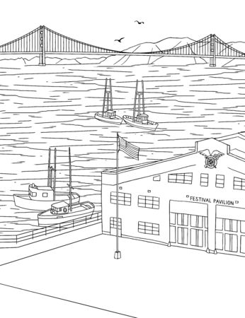 Hand drawn ink illustration of the San Francisco Marina district, with the Golden Gate Bridge in the background