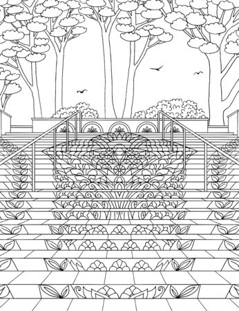 Hand drawn ink illustration of the Mosaic Staircase in Lincoln Park, San Francisco
