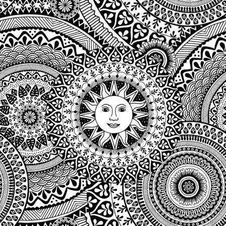 Seamless pattern with hand drawn mandala, black and white ink illustration with the sun in the center Illustration