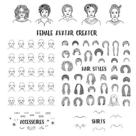 Female avatar creator - hand drawn faces and hairstyles to create your own personal profile picture Foto de archivo - 128803818