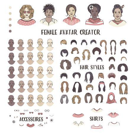 Créateur d'avatar féminin - visages et coiffures dessinés à la main pour créer votre propre photo de profil Vecteurs