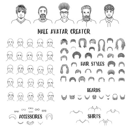 Male avatar creator - hand drawn faces and hairstyles to create your own personal profile picture Ilustração