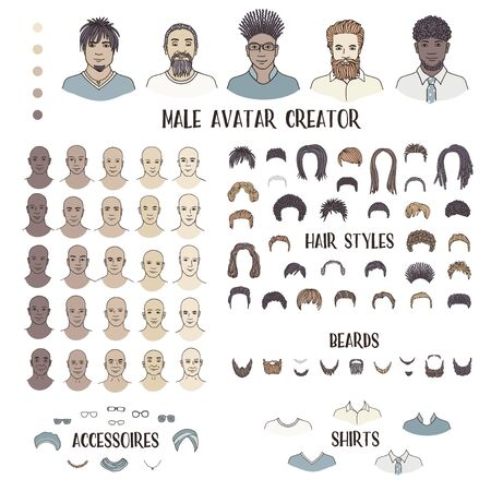 Male avatar creator - hand drawn faces and hairstyles to create your own personal profile picture Çizim