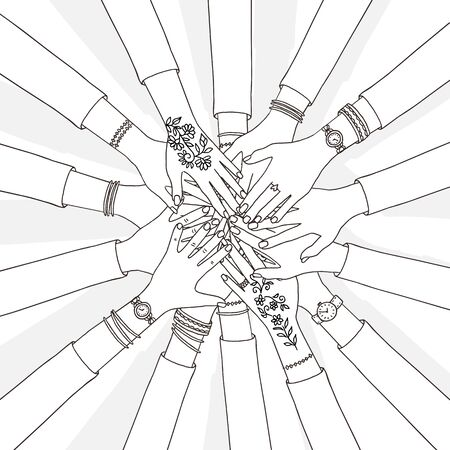 Hand drawn vector illustration of people holding their hands together Иллюстрация