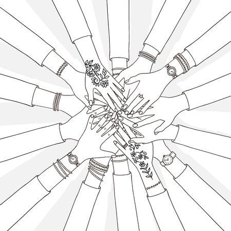 Hand drawn vector illustration of people holding their hands together Ilustração