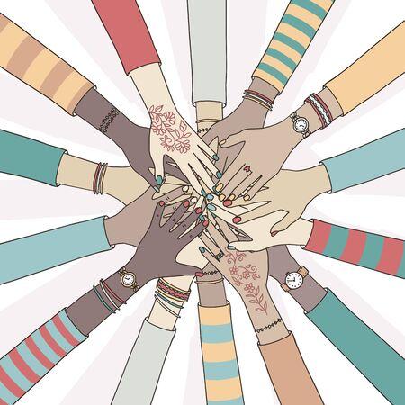 Illustration vectorielle dessinés à la main de personnes tenant leurs mains ensemble