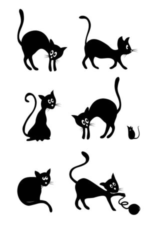 Silhouette of a cute black cartoon cat