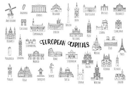 Zestaw 37 ręcznie rysowanych zabytków z różnych stolic europejskich, ilustracje czarnym tuszem