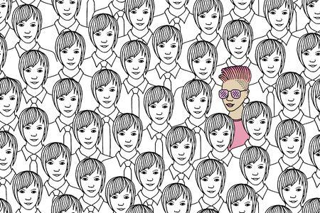 Illustration eines Mädchens, das sich von einer Menge identischer Frauen abhebt