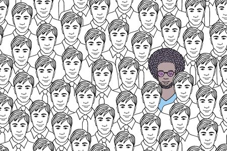 Illustration of a guy standing out from a crowd of identical men