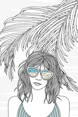 Hand drawn black and white portrait of a young woman wearing swimwear with sunglasses Çizim