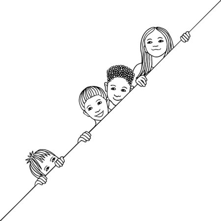 Hand drawn illustration of diverse children peeking behind a diagonal line