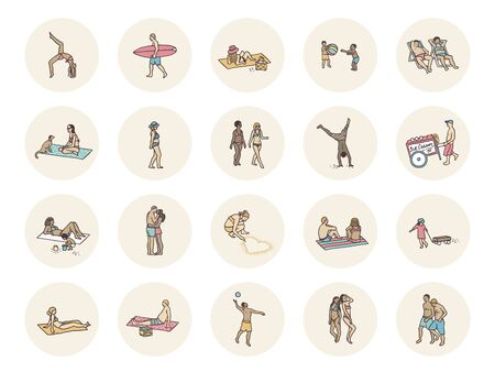 Social media icons with tiny people lying and playing at the beach