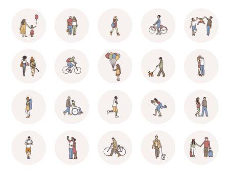Icônes de médias sociaux avec de minuscules piétons marchant dans la rue Vecteurs