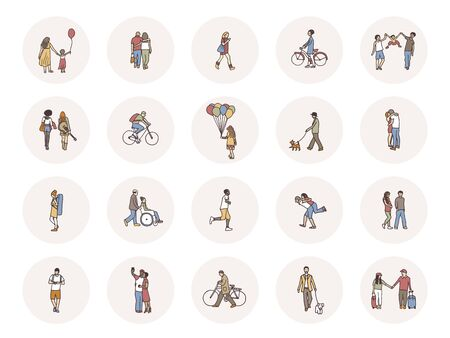 Social media icons with tiny pedestrians walking through the street