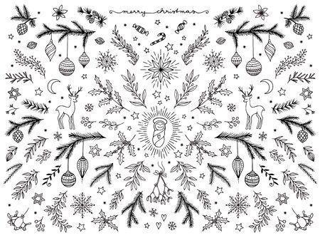 Hand sketched floral design elements for Christmas, black and white ink illustration
