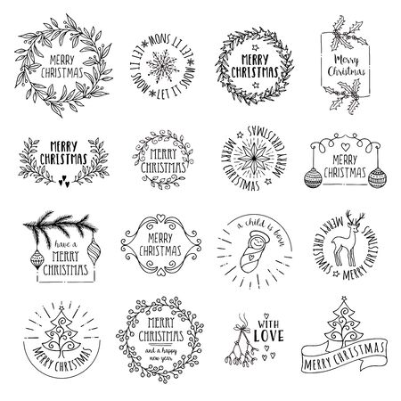 Little Christmas - hand drawn vector icons, emblems, text design Çizim