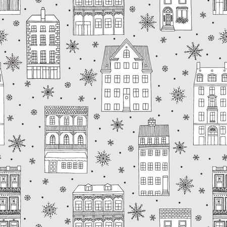 Seamless pattern with hand drawn houses and snowflakes, winter background illustration